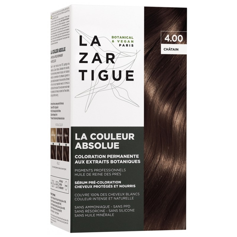 Lazartigue la couleur absolue Coloration : 4.00 Châtain disponible sur Pharmacasse