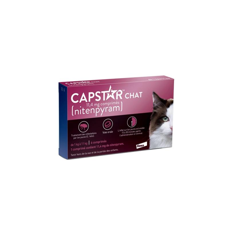 Capstar Chat 11.4 mg Boîte de 6 comprimés disponible sur Pharmacasse