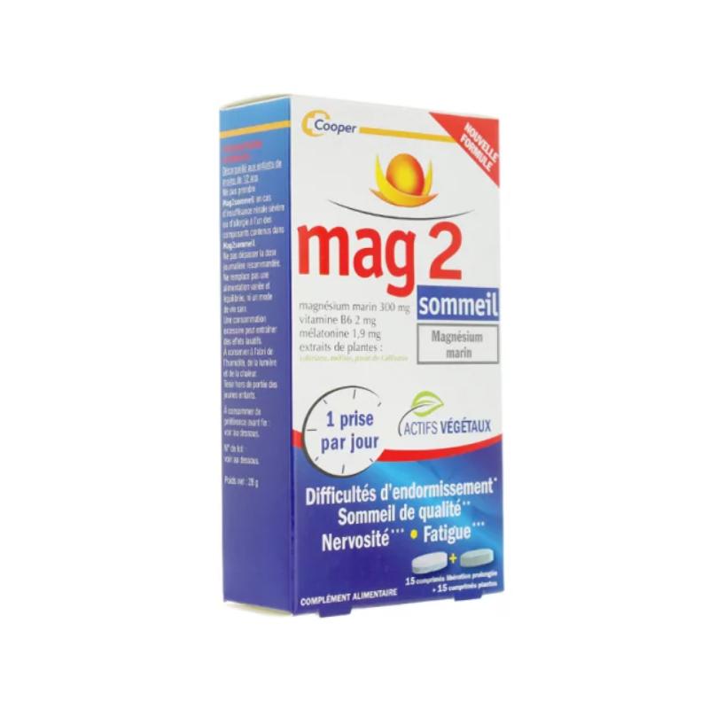MAG 2 Sommeil Boîte de 15 Comprimés Libération prolongée + 15 Comprimés Plantes disponible sur Pharmacasse