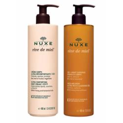 Nuxe Rêve de Miel Crème corps 400ml + Gel Lavant Surgras visage et corps 400ml