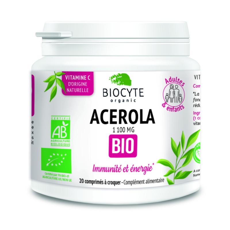 Biocyte Acerola Bio Boîte de 20 comprimés à croquer disponible sur Pharmacasse