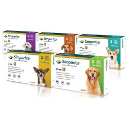 Simparica 10mg (chien 2,5 - 5 kg) Boîte de 3 comprimés disponible sur Pharmacasse