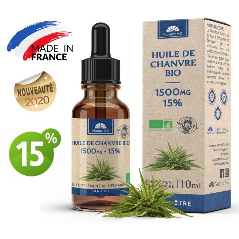 Nature AZ Huile de Chanvre Bio CBD 15% Flacon de 10 ml disponible sur Pharmacasse