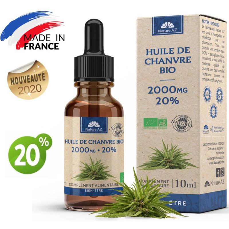 Nature AZ Huile de Chanvre Bio CBD 20% Flacon de 10 ml disponible sur Pharmacasse