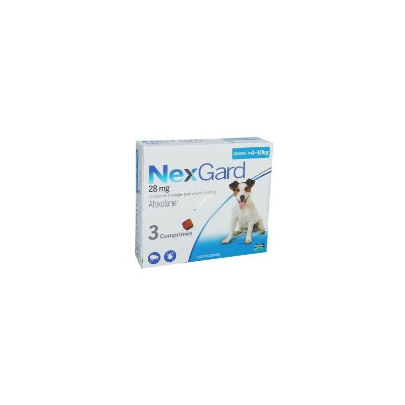 Nexgard 28mg Chiens 4-10kg Boîte de 3 comprimés disponible sur Pharmacasse