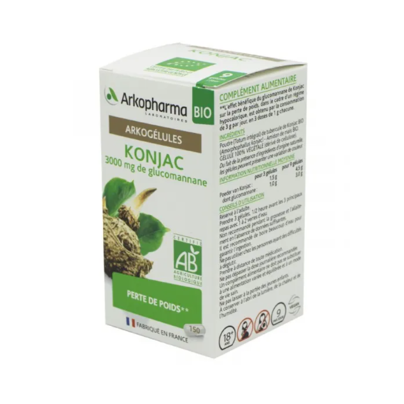 Arkogélules Konjac Boîte de 150 gélules disponible sur Pharmacasse
