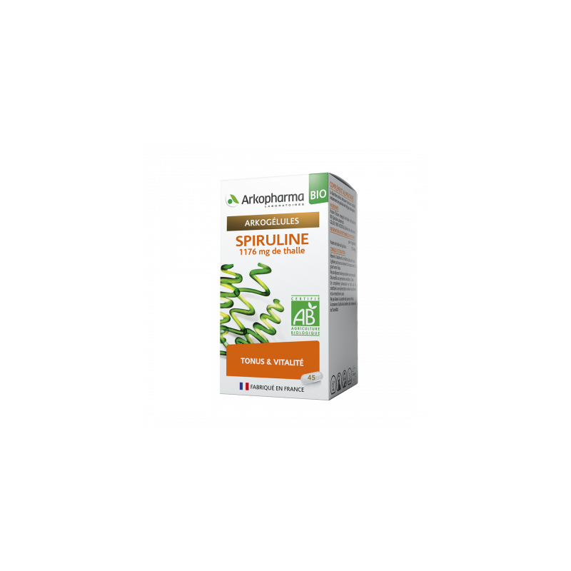 Arkogelules Bio Spiruline Boîte de 45 gélules disponible sur Pharmacasse