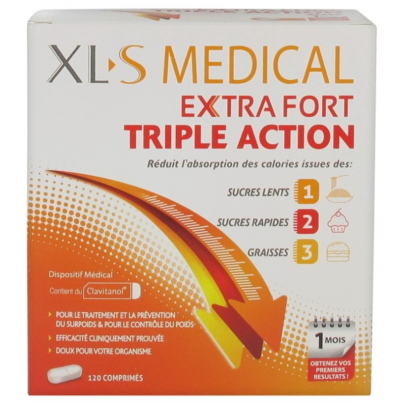 XL-S Médical Extra Fort Triple Action 120 comprimés disponible sur Pharmacasse