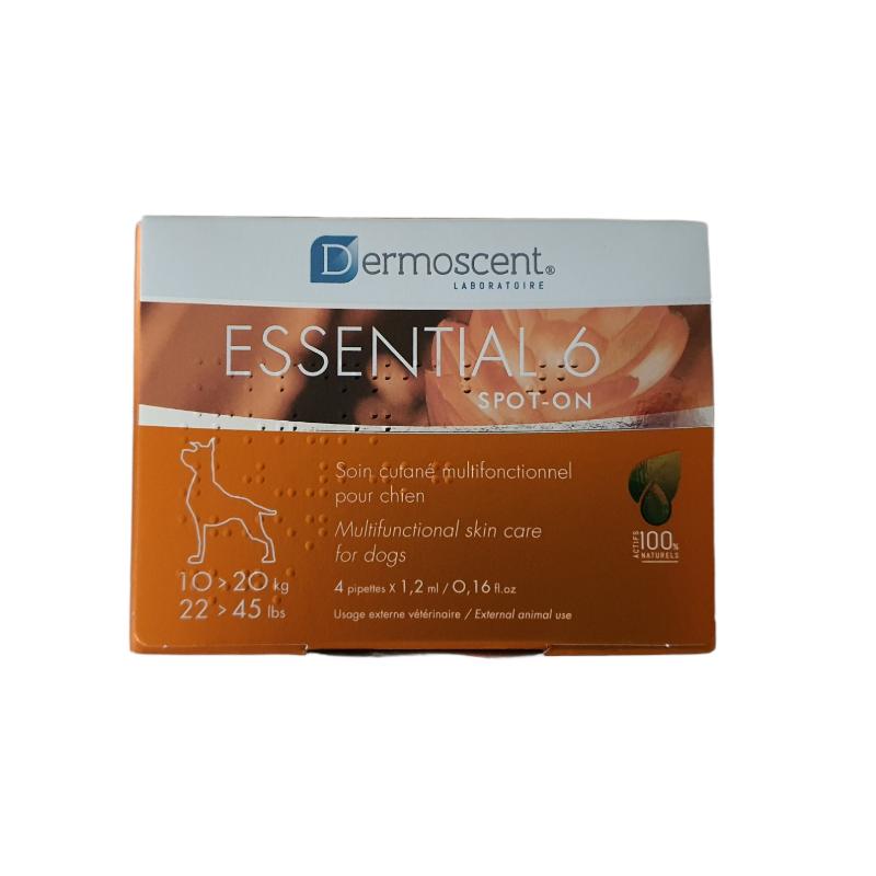 Essential 6 Spot-on Chien 10 à 20 kg Boîte de 4 pipettes disponible sur Pharmacasse