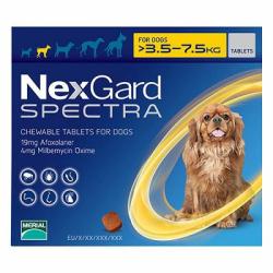 Nexgard Spectra 19/4mg Chiens 3.5-7.5kg Boîte de 3 comprimés disponible sur Pharmacasse