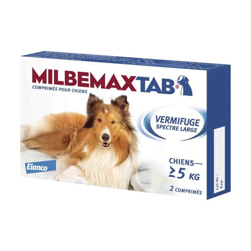 MILBEMAXTAB Vermifuge Chiens de plus de 5 kg  2 comprimés disponible sur Pharmacasse
