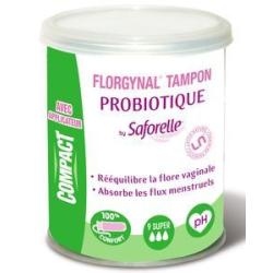 FLORGYNAL tampon probiotique avec applicateur compact super boîte de 9