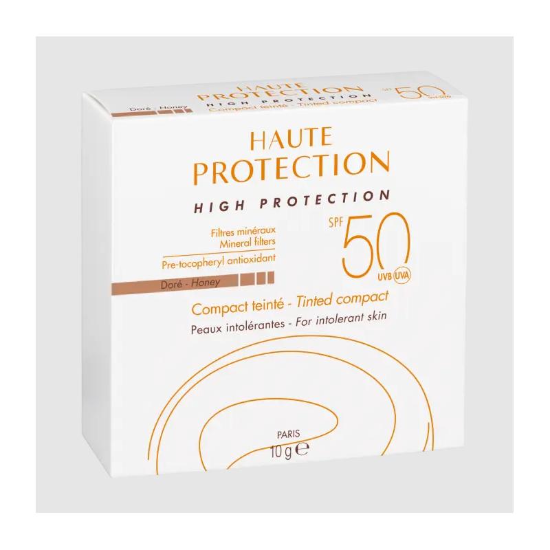 Avène Solaire Haute protection Compact teinté Doré SPF 50 disponible sur Pharmacasse