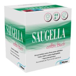 Saugella Cotton Touch Jour Serviettes Extra-Fines avec Ailettes Boîte de 14