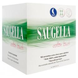 Saugella Cotton Touch Nuit Serviettes Extra-Fines avec Ailettes Boîte de 12