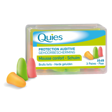 QUIES Mousse confort bruits forts fluo boîte de 3 paires