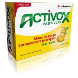 ACTIVOX Pastilles sans sucre miel citron 24 pastilles
