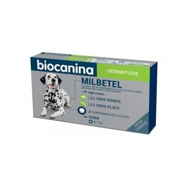 BIOCANINA MILBETEL VERMIFUGE 12,5 MG/125 MG - POUR CHIENS 2 COMPRIMES