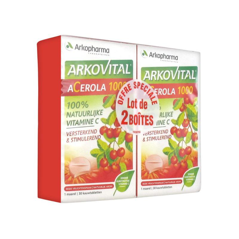 ARKOPHARMA Arkovital Acerola 1000 Lot de 2 x 30 Comprimés disponible sur Pharmacasse
