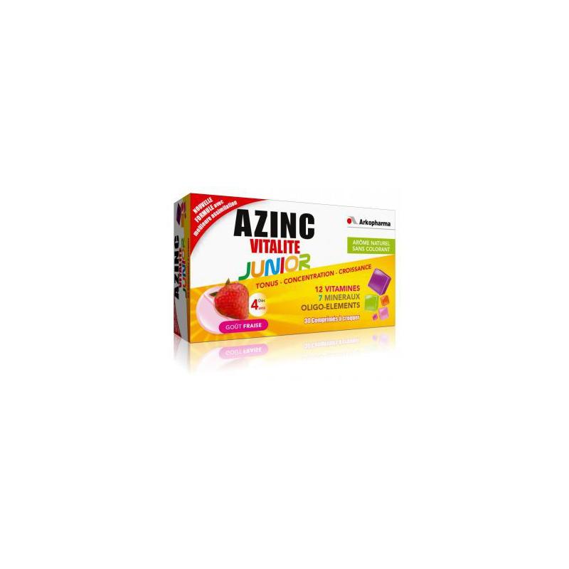AZINC junior 30 comprimés à croquer goût fraise disponible sur Pharmacasse