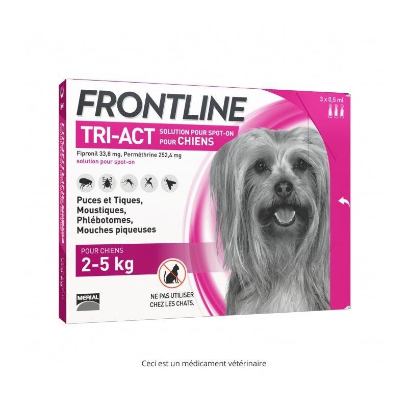 Frontline tri-act chien 2-5 kg 3 pipettes disponible sur Pharmacasse