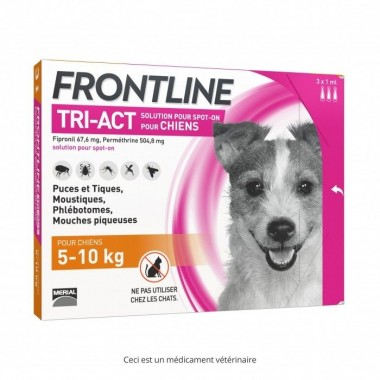 Frontline tri-act chien 5-10 kg 3 pipettes