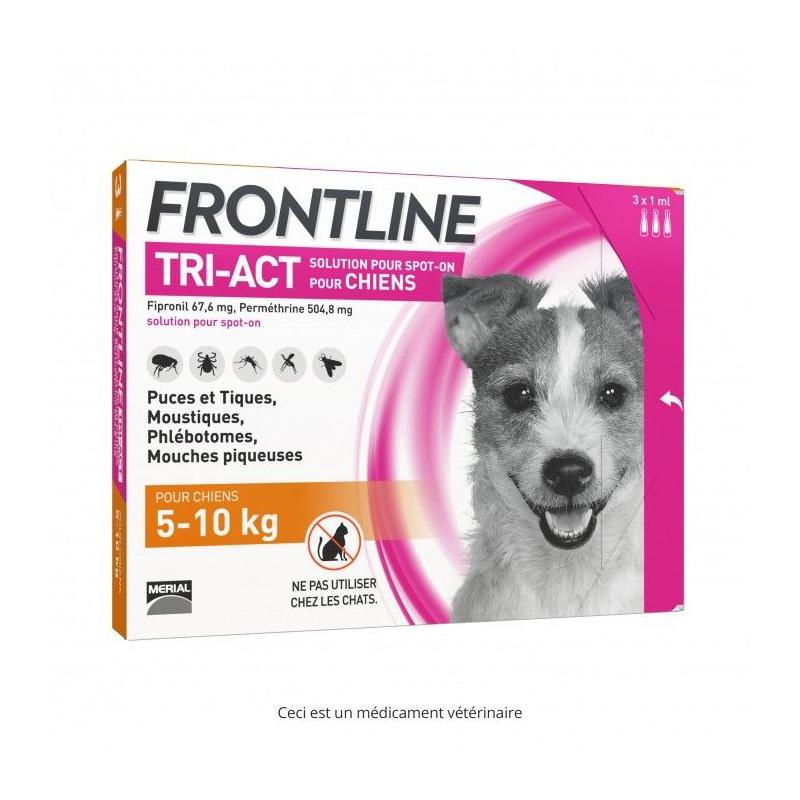 Frontline Tri-act Chien 5-10 kg Boîte de 3 pipettes disponible sur Pharmacasse