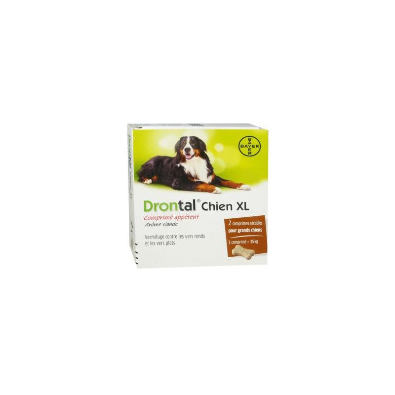 Drontal XL chien boite de 2 comprimés disponible sur Pharmacasse