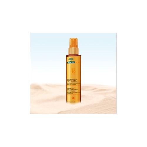NUXE SUN Huile bronzante visage et corps faible protection SPF10 150ml