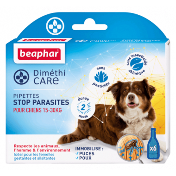 BEAPHAR Diméthicare pipettes stop parasites pour petits chien 15Kg a 30Kg