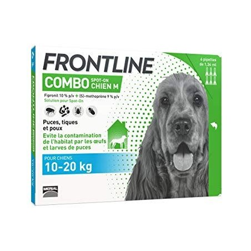 Frontline combo chien m 10-20kg 6 pipettes