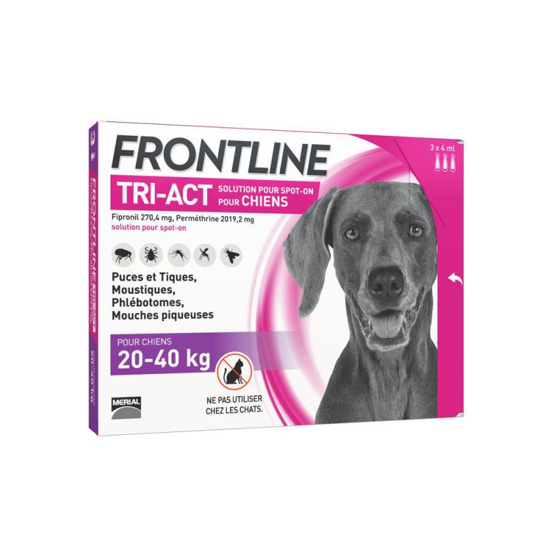 Frontline tri-act chien 20-40 kg 3 pipettes disponible sur Pharmacasse