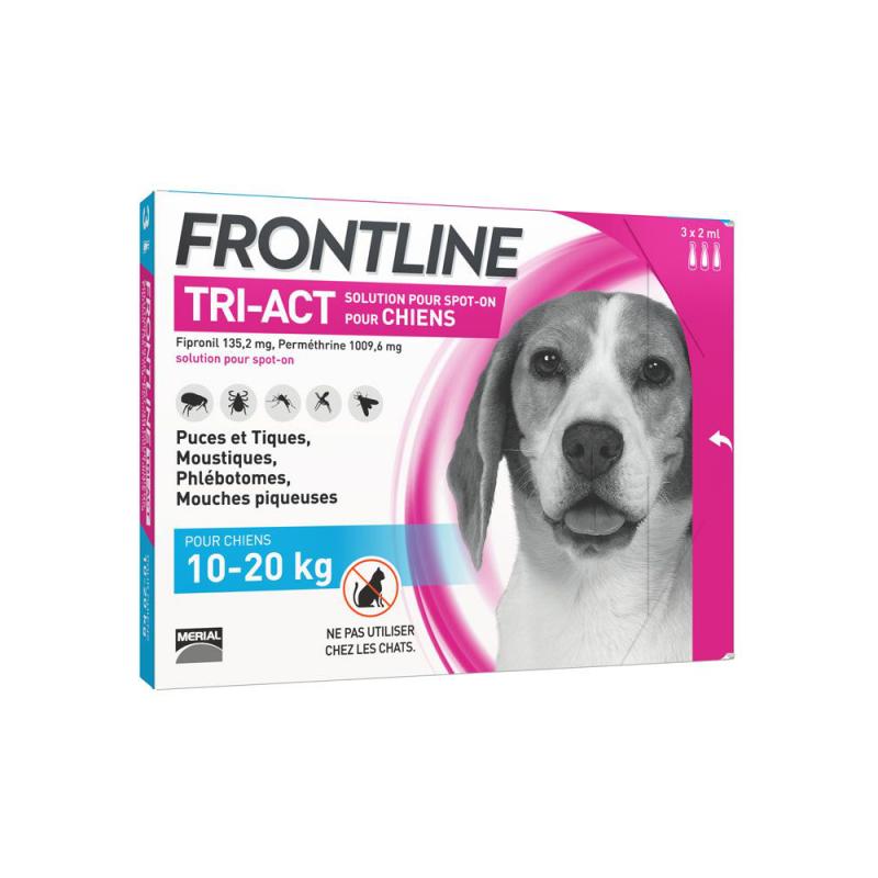Frontline tri-act chien 10-20 kg 3 pipettes disponible sur Pharmacasse