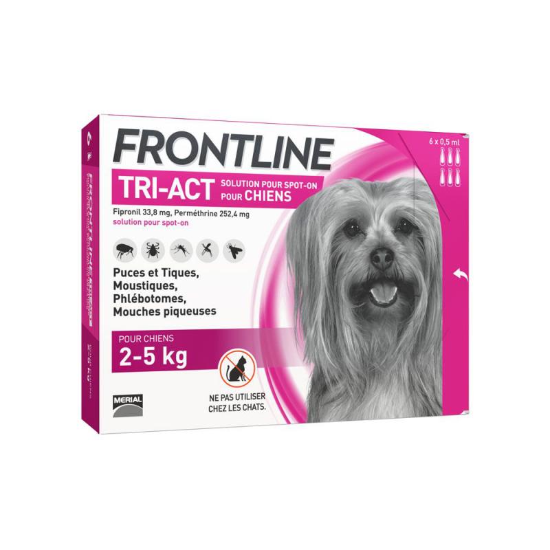 Frontline tri-act chien 2-5 kg 6 pipettes disponible sur Pharmacasse