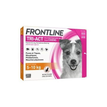 Frontline tri-act chien 5-10 kg 6 pipettes
