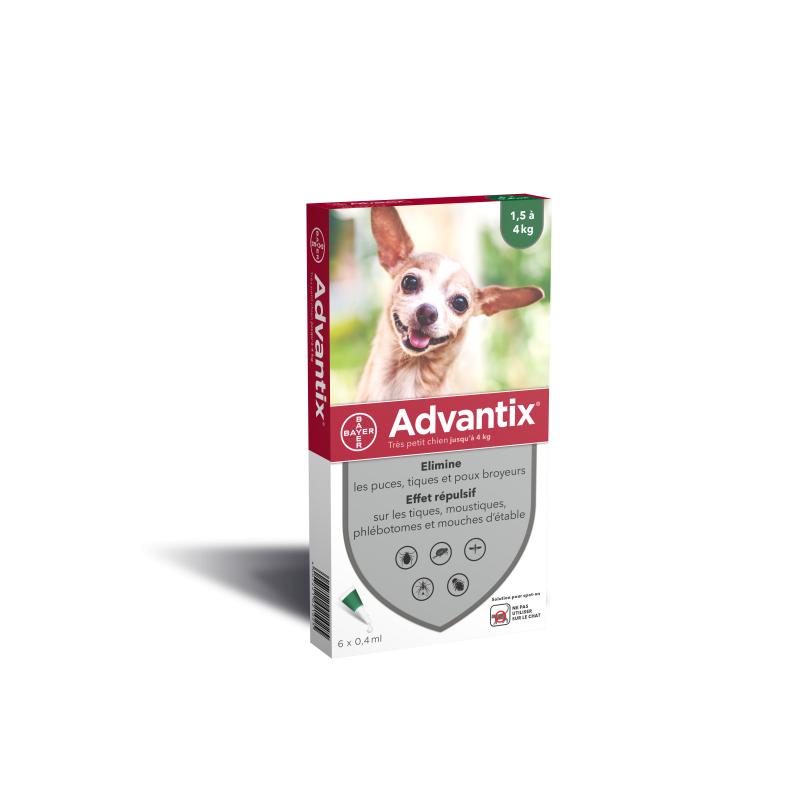 ADVANTIX très petit chien (1.5kg à 4kg) Boite 6 pipettes disponible sur Pharmacasse