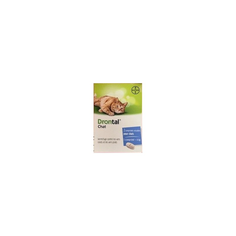 Drontal chat boite de 2 comprimés disponible sur Pharmacasse