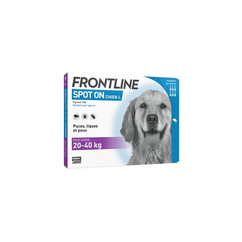 Frontline Spot-On Chien L 20-40 kg 4 pipettes disponible sur Pharmacasse