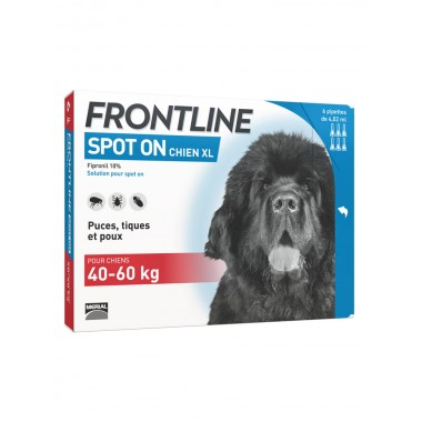 Frontline Spot-On Chien XL 40 à 60 kg 6 Pipettes